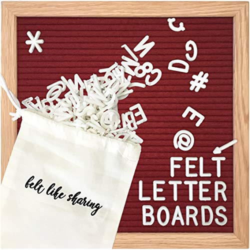 Sangria/Maroon/Dark Red Felt Letter Board 10x10 Inches. Changeable Letter Boards Include 300 White Plastic Letters and Oak Frame. ()