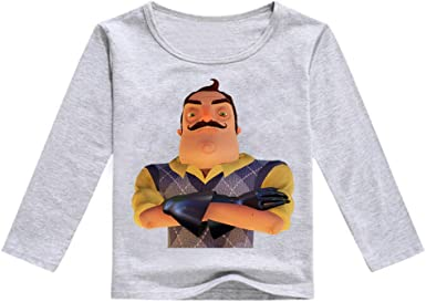Hello Neighbor Manga Larga Camiseta Camiseta de Manga Larga for niños Camisetas de algodón Camiseta Casual for niños Camiseta con Estampado de Dibujos Animados niños: Amazon.es: Ropa y accesorios