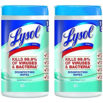 Lysol Disinfecting Wipes, Ocean Fresh, 160ct (2X80ct)