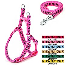 HAND-IN-HAND Zebra Release Buckle Strap Harness & Leash for Pet Small Media Dog Cat Pink S