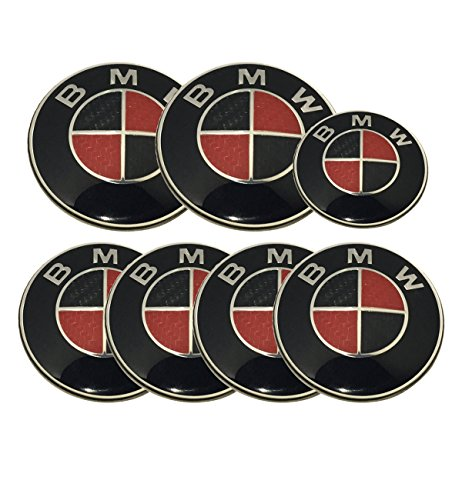 Black Red Carbon Round Emblem Logo Badge Set 7pcs Set 82mm Hood & 82mm Trunk / 68mm Wheel Caps / 44mm Steering Emblem For BMW Car Model (Black Red Emblem)