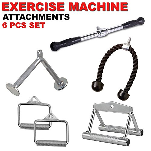 FITNESS MANIAC Barbell Deluxe Straight Bar Cable Attachment with Rubber Handgrips Gym Handle Press Down Machine Exercise Tricep Bar Combo 6 PCs Set by FITNESS MANIAC