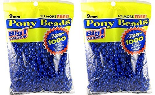 DARICE 06121-2-03-2PK 06121-2-03 1000 Count Pony Beads, 9mm, Opaque Blue (2 Pack), -