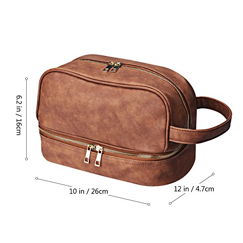 95bc859d837b Amazon.com  Goldwheat Leather Toiletry Bag Travel Organizer Hanging Makeup  Bag Dopp Kit   Shaving Cosmetic Bag for Men Women (Brown)  Clothing