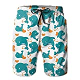 ONETAIWA Mens Miami Dolphin Cartoon Cute Pattern Summer Quick-Drying Swim Trunks Beach Shorts Cargo Shorts