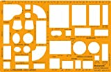 """1/4 inch (1/4"""" = 1'0"""") Scale US American Standard Imperial Architectural Drawing Template Stencil - Architect Technical Drafting Supplies - Furniture Symbols for House Interior Floor Plan Design"""