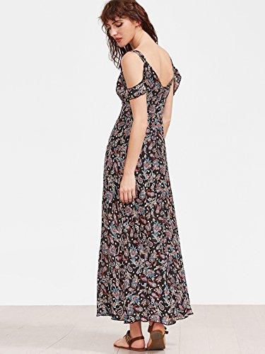 23742d1d1fa Floerns Women s Sleeveless Halter Neck Vintage Floral Print Maxi Dress  Medium Multicolor