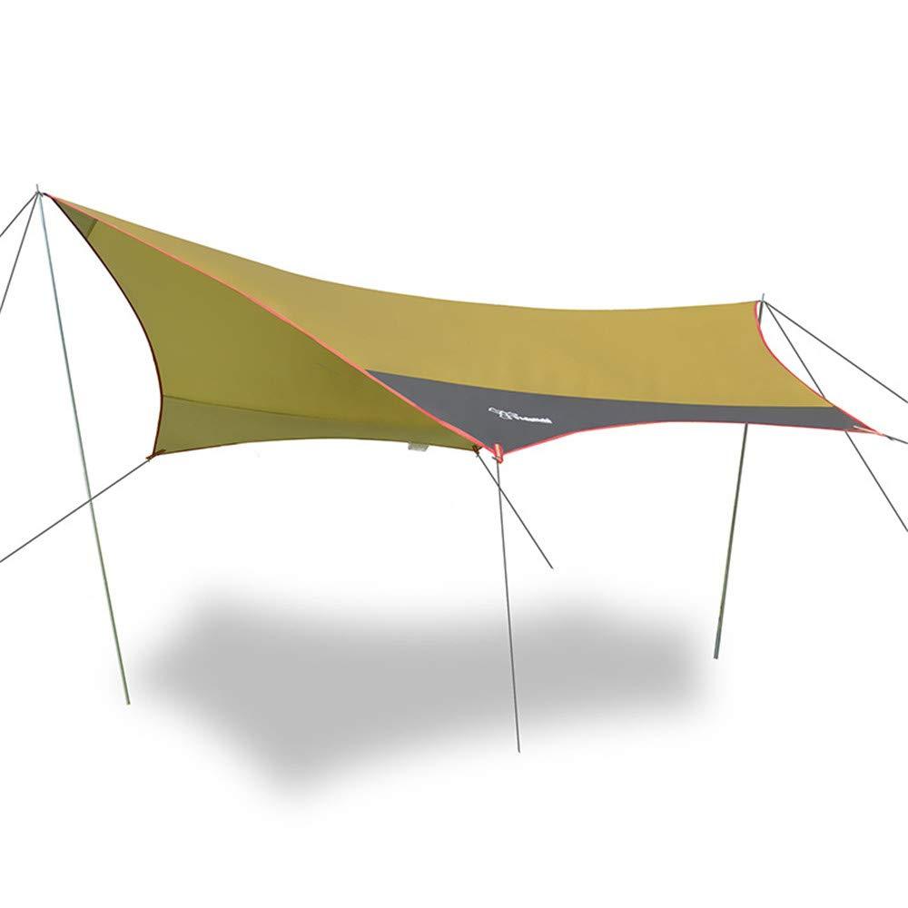 LIUSIYU テントタープ ハンモック レインフライ 3 x3m(4m) 軽量 防水 六角キャンプ タープ 紫外線防止 日除け 旅行 ハイキング バックパック 釣り用 300*300 イエロー B07P3894B9