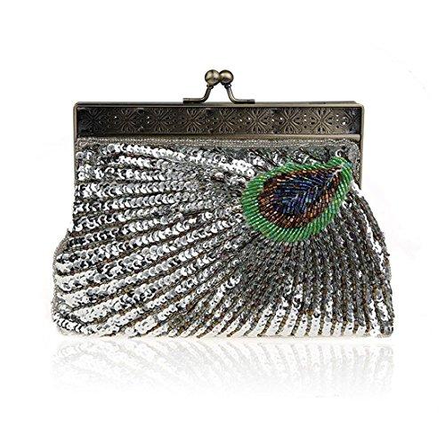 Peacock Eye Catching Teal Clutch Vintage Purse Handbag Antique Silver Sunburst Evening Beaded Unusual Sequin vREn6
