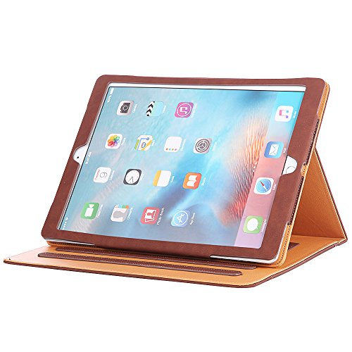 - I4UCase Apple iPad 9.7 Inch 2017/2018 (5th/6th Generation) Case - Soft Leather Stand Folio Case Cover for iPad 9.7 Inch 2017, with Multiple Viewing Angles, Auto Sleep/Wake, Document Pocket (Brown)