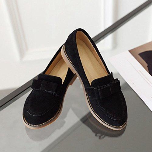 Giy Donna Suede Penny Mocassino Comfort Punta Rotonda Slip-on Tacco Basso Bowknot Dress Mocassini Casual Scarpe Nere