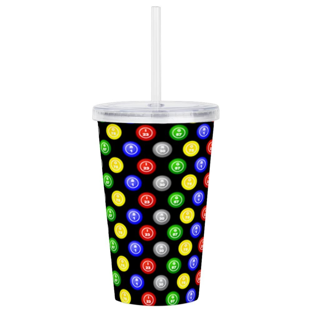 CafePress - Bingo Balls Black Case.Png Acrylic Double-Wall Tum - Insulated Straw Cup, 20oz Acrylic Double-Wall Tumbler by CafePress