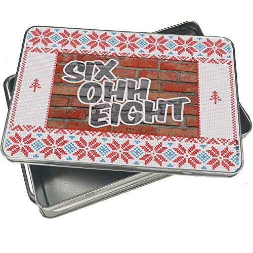NEONBLOND Cookie Tin Box 608 Madison, WI brick Vintage Christmas Pattern -