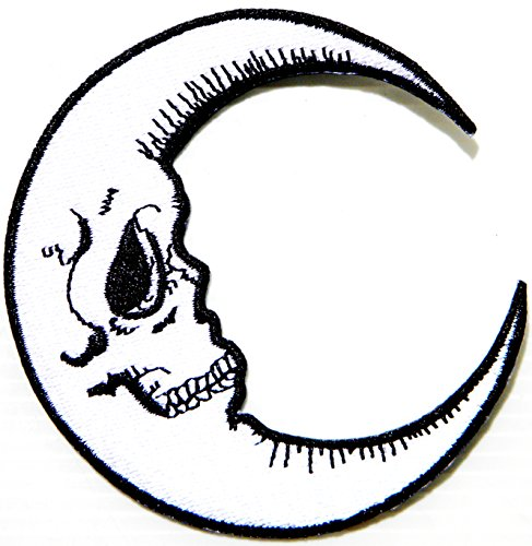 Skull Crescent Moon Halloween Skeleton Logo Symbol Jacket T-shirt Patch Sew Iron on Embroidered Sign Badge Costume (Harley Davidson Biker Girl Halloween Costume)