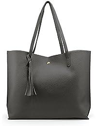 Women Lage Tote Bag - Tassels Leather Shoulder Handbags, Fashion Ladies Purses Satchel Messenger Bags