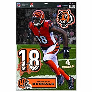 "NFL Cincinnati Bengals A.J. Green Multi-Use Decal Sheet, 11""x17"", Team Color"