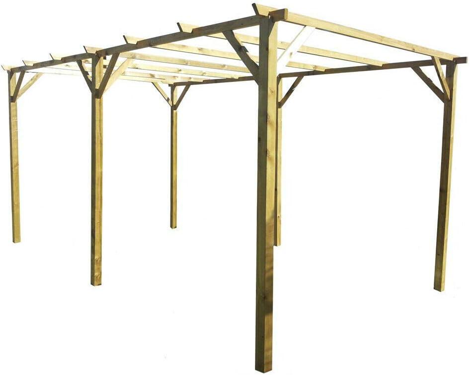 Pergola doble carpa madera nórdico impregnado 300 x 600 jardín BD ...