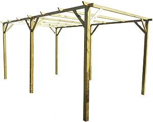 Pergola doble carpa madera nórdico impregnado 300 x 600 ...