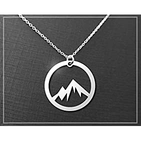 Silver Mountain Necklace - A Sterling Silver Circle Mountain Pendant Necklace - The Mountains Are Calling Necklace