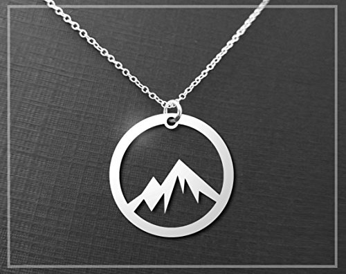Silver Mountain Necklace - A Sterling Silver Circle Mountain Pendant Necklace - (Mountain Necklace)