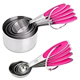 JuBaoM Premium Stainless Steel Measuring Cups and Spoons Stackable Set, 10 Pieces. Professional Metal Cookware Tools to Measure Liquid and Dry Ingredients in your Kitchen (Pink)
