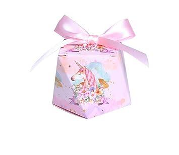 Amazon.com: 50 cajas de regalo con forma de unicornio rosa ...