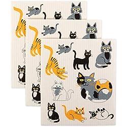 DII Peace - Juego de 3 paños de Cocina suecos, Cats Everywhere!, 7.75x6.75, 1, 3