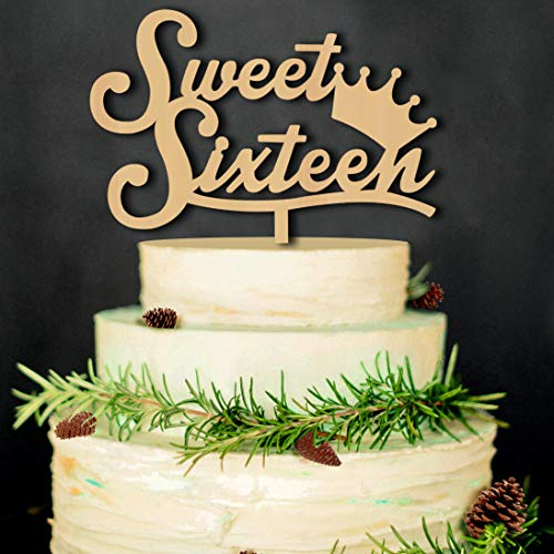 Sweet Sixteen Happy Brithday Cake Toppers Rustic Wood For Party Engagement Decoration