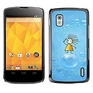 Carcasa Funda Prima Delgada SLIM Casa Case Bandera Cover Shell para LG Google Nexus 4 E960 / Business Style Soap Blue Drawing Kids Children