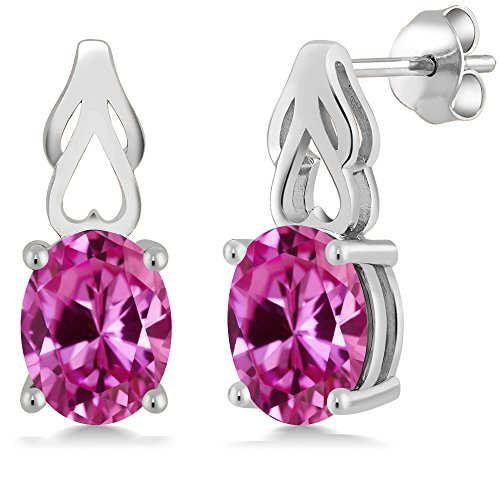 4.80 Ct Oval Pink Created Sapphire 925 Sterling Silver (Drop Pink Sapphire Necklace)