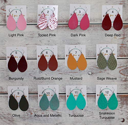 Extra Small Lightweight Handmade Leather Teardrop Earrings - 53 Stylish Colors ()