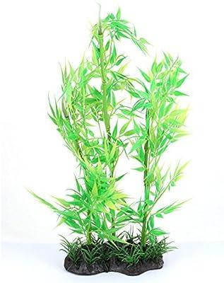 DealMux plástico del acuario artificial submarino adorno de bambú acuario de la planta verde