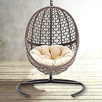 Amazon.com : TheraLiving Hanging Egg Chair Swing Wicker ...
