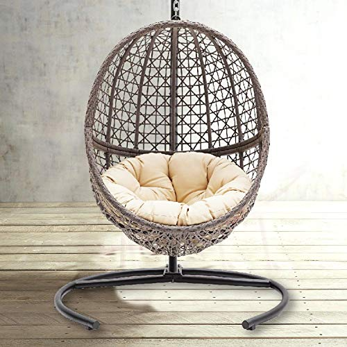 TheraLiving Hanging Egg Chair Swing Wicker Bubble Design Seat Includes Tan Tufted Cushion and Stand