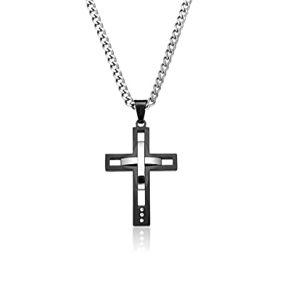 Amazon titanium cross necklace for men cross pendant stainless titanium cross necklace for men cross pendant stainless steel chain necklace 24quot lucky cross pendant aloadofball