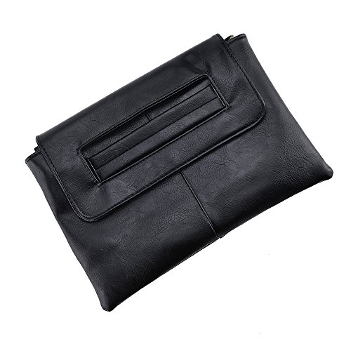 VRLEGEND Clutch Bag Purse, Women Leather Evening Wristlet Handbag Envelope Bags with Adjustable Strap (Black) by VRLEGEND