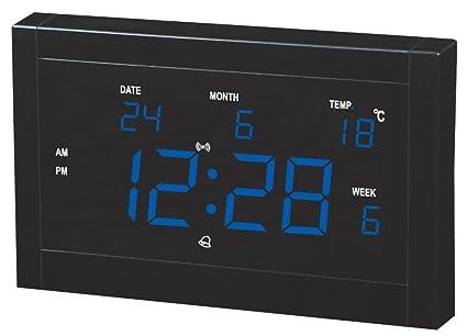 Despertador Reloj Digital LED emisor de LED Reloj Calendario Reloj LED Reloj de Enchufe, Yellow