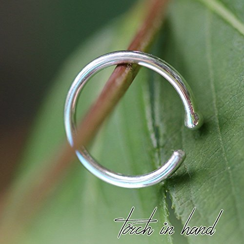 14k Solid White Gold Nose Ring with Ball, 7mm Nose Hoop with Ball, Nose Piercing, Ball End Nose Rings, All Gauges Available