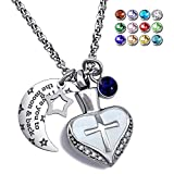 YOUFENG Urn Necklaces for Ashes I Love You to the Moon and Back Cross Necklace Birthstone CZ Keepsake Pendant (September birthstone urn)