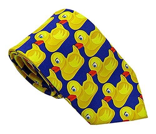 Rubber Ducky Tie (Celino Men Funny Cute Blue & Yellow Rubber Duckies Pattern Polyester Necktie, Orange)