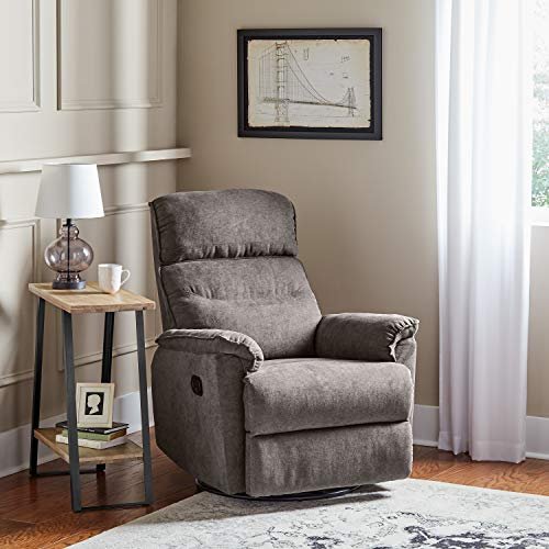 Ravenna Home Pull Recliner with Rotating 360 Swivel Glider, Living Room Chair, 27.6