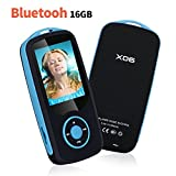 Niusute Mp3 Player with Bluetooth 16GB Music Player Support up to 64GB-Blue