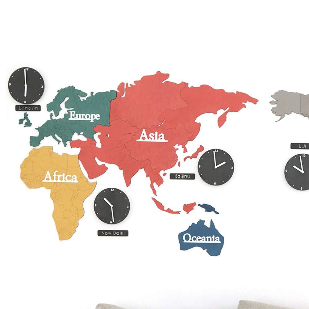 Décoration De La Maison Myy Carte Du Monde Coloré Horloge