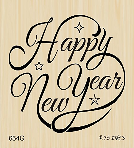 Happy New Year Circle Greeting Rubber Stamp by DRS Designs Rubber Stamps
