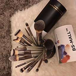 Amazon Com Bs Mall Makeup Brush Set 18 Pcs Premium Synthetic Kabuki Foundation Eyebrow Eyeshadow Concealer Blending Eyeliner Comestic Brushes Champagne Purple Silver Beauty
