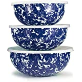 Enamelware - Cobalt Blue Swirl Pattern - Set of 3 Mixing Bowls with Lids