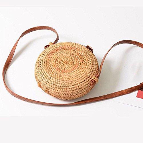 cruzado mujer de correa de a de bolso playa bolso a redondo bohemio hechas ratán bolso para paja tejido con paja mano Househome de de mano piel de bolso punto Bolsas wnfpHqAxOI