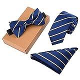 Lanburch Fashionable Premium Formal/Informal Ties Set, Necktie/Bow Tie/Pocket Square for Mens/Boys, Golden Strips