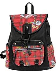 Red Plaid & Floral Backpack