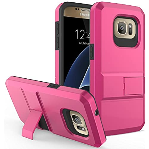S7 case, Galaxy s7 case - D'eJoy Advance Armor Slim Protector Phone Case with card slots and kickstand For Samsung Galaxy S7 G930 - Hot Pink [Advance Slim Sales